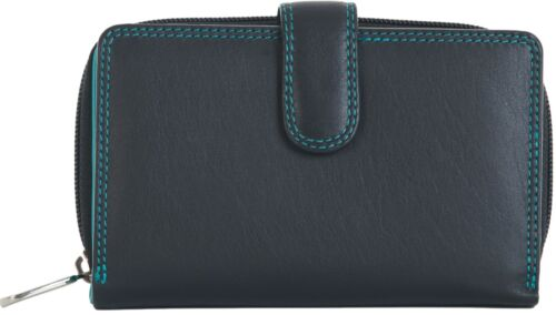 VISCONTI LADIES MEDIUM SOFT LEATHER BLACK//AQUA PURSE WALLET 16 CARD SLOTS CD22