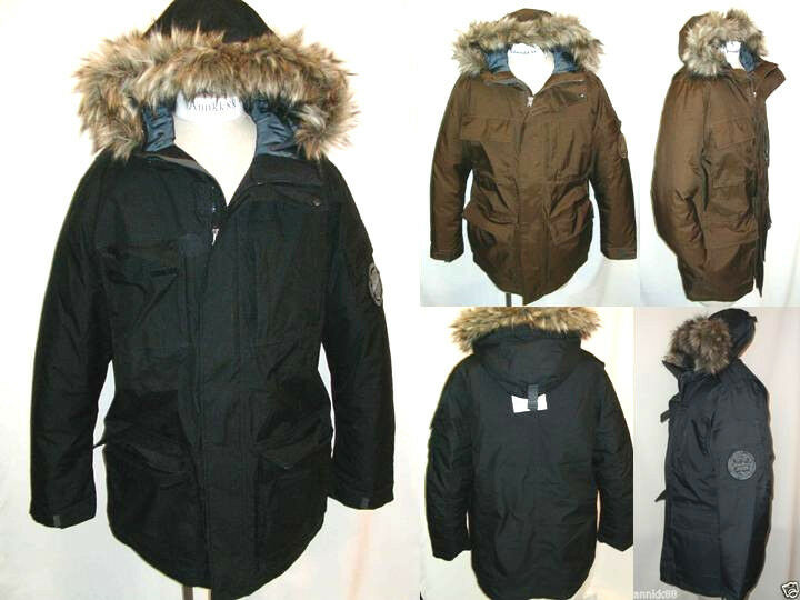 NWT Eddie Bauer  Herren WeatherEdge Superior Down Parka Coat Faux Fur Hood