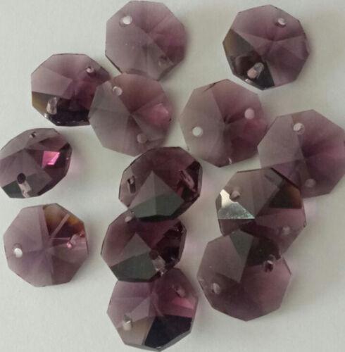 20pcs 14mm Dark purple Crystal Octagonal bead Decoration Crysta chandelier part