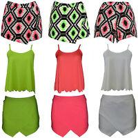 Ladies Neon Aztec Print Wrap Skirt Mini Hot Pants Shorts Skort Culottes Vests