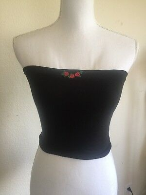 brandy melville black Cotton Crop Jenny rose embroidery Tube  top NWT NEW