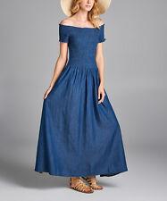 Denim Blue Off Shoulder Maxi Dress NWT Size S