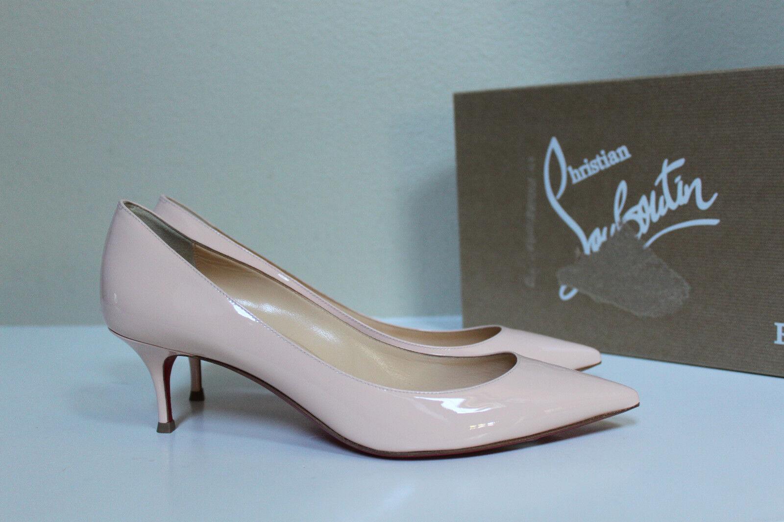 9   39.5 Christian Louboutin Pink Pigalle Follies Pointed Toe Low Heel Pump shoes