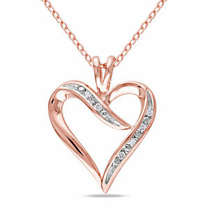 Amour Sterling Silver Diamond Heart Necklace by  Amour