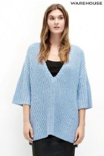 WAREHOUSE Blue Chunky Jumper Sizes M /& L RRP £40