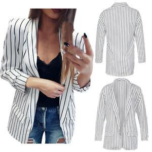 Mode-Femme-Veste-a-Manches-Longues-Cardigan-Blazer-Rayures-Outwear-Manteaux-SP