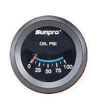 Sunpro 2 Oil Pressure Gauge Black Black Bezel 0 100 Psi New Cp7982 Warranty
