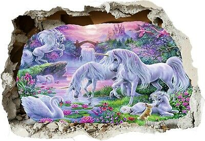 Unicorn Castle Fantasy Fairy Horse 3d Smashed Wall View Sticker Poster Art Z84