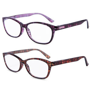 Reading Glasses High Power Magnification Spring Hinge Clear Women Lady 2 Pairs