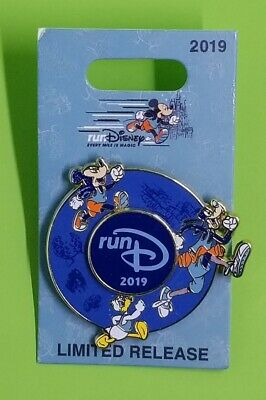 Run Disney Parks 2019 Marathon Mickey Goofy Donald Spinner Trading Pin ~ NEW