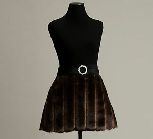 Chocolate brown cocktail apron, faux fur, NEW, handmade in USA