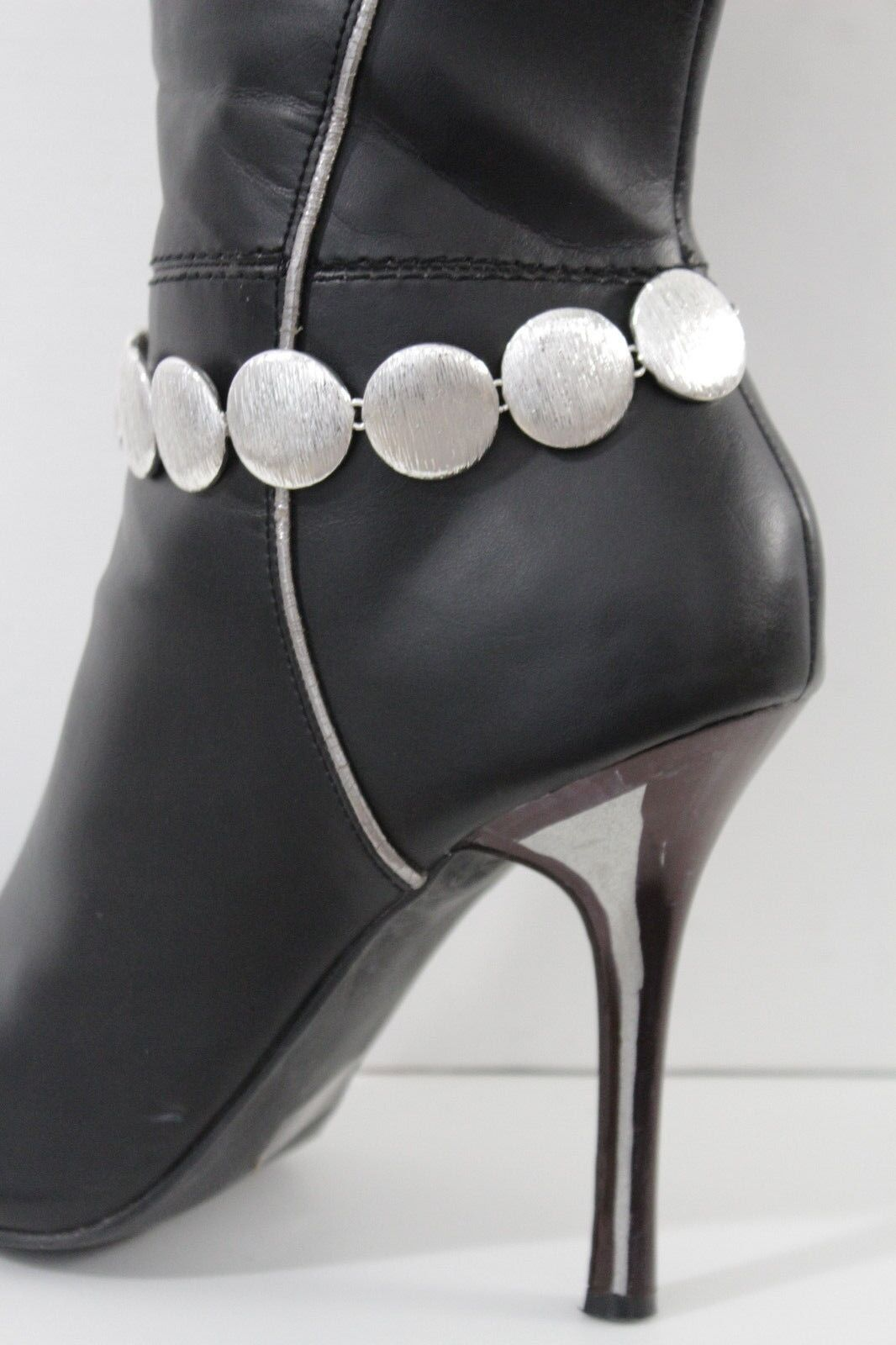 Women Boot Chains Anklet Bracelet Heel Shoe Silver Textured Circle Charm Jewelry