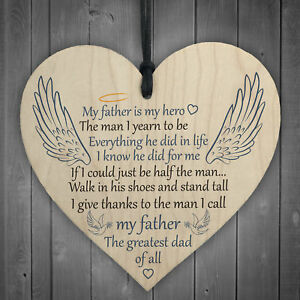 Father My Hero Memorial Wooden Hanging Heart Grave Plaque Wall Sign