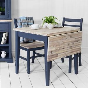 Details About Florence Square Extended Table.Navy Blue Kitchen Table With  Drop Down Leaf