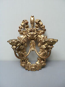 BEAUTIFUL ANTIQUE ITALIAN GILT WOOD 2-LITE WALL SCONCE