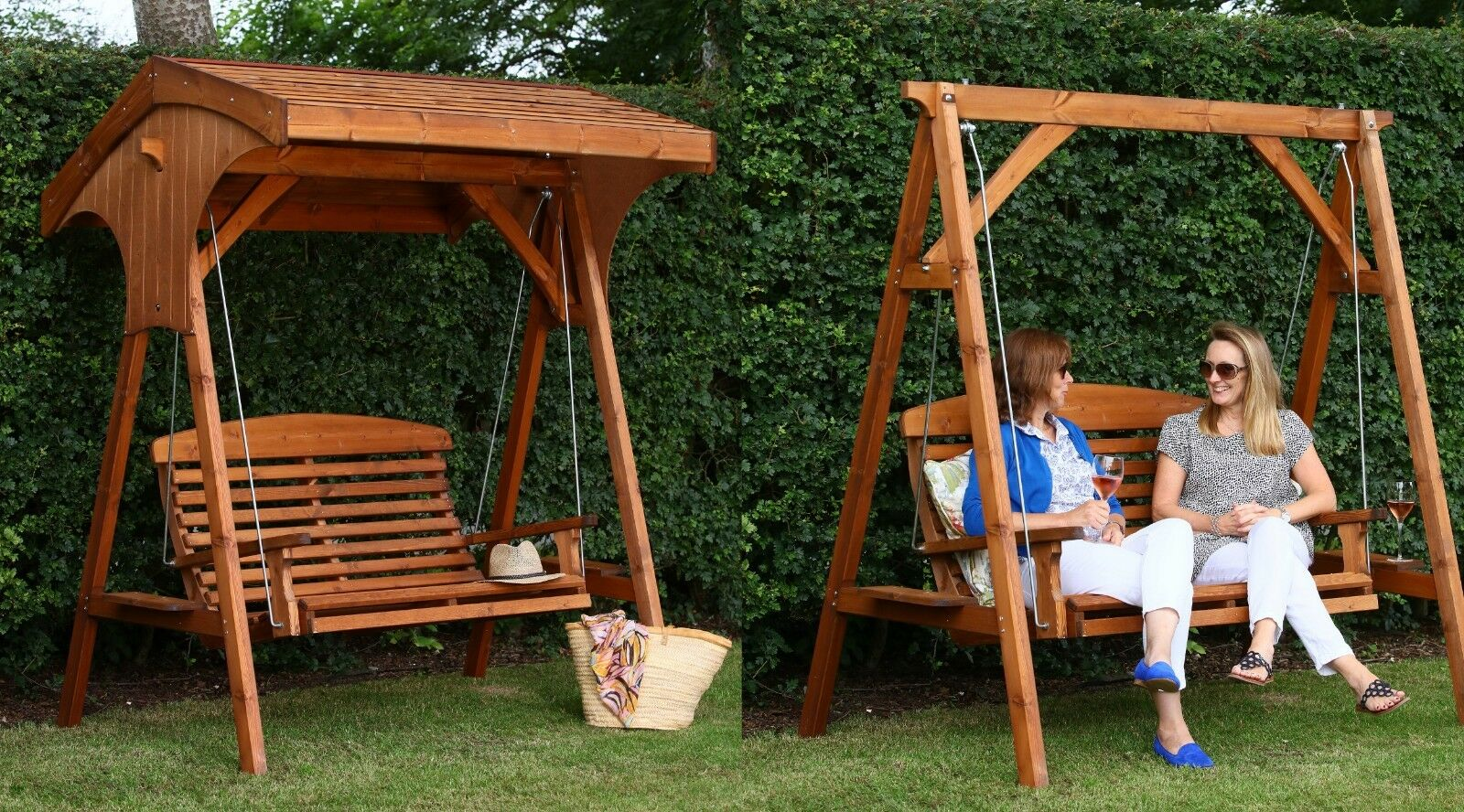 AFK Roofed Apex 2 Seater Swing Seat- Beech Stain | eBay