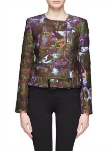 CARVEN-Jacket-34-Green-Purple-Tropical-Tree-Print-Moto-Jungle-Havana-Zip-Up-Coat