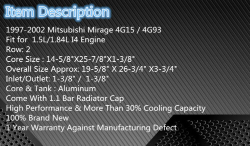 Aluminum Radiator For 1997-2002 Mitsubishi Mirage 1.5L//1.8L 1998 1999 2000 2001