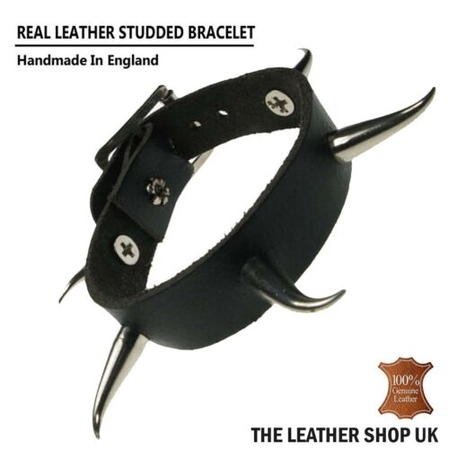 Real Genuine Leather Gothic Biker Small Saber Tooth Stud Wristband Made In UK