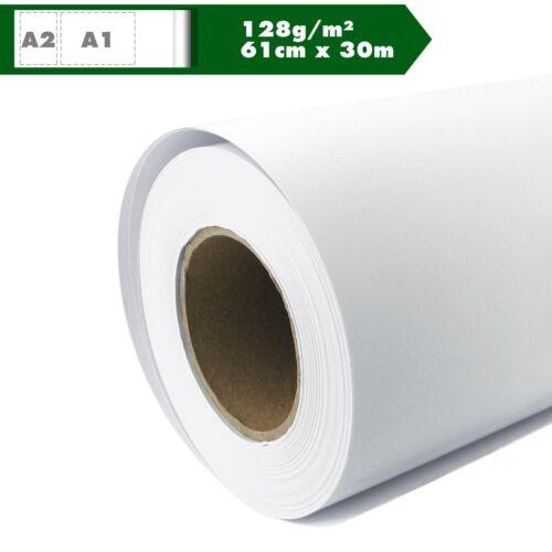 Plotterpapier Rolle matt 128 g//m² 61 cm x 30m A1 A2 gestrichenes Universalpapier