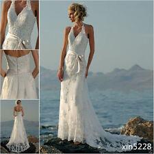 Boho White/Ivory Bohemian Halter Beach Lace Wedding Dresses Backless Bridal Gown