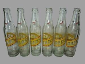 Vintage 6 Pack DADS Rootbeer 10oz Glass Soda Pop Bottles Yellow Label