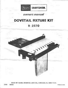 1983 Craftsman 720.2570 Dovetail Fixture Owner's Manual ...