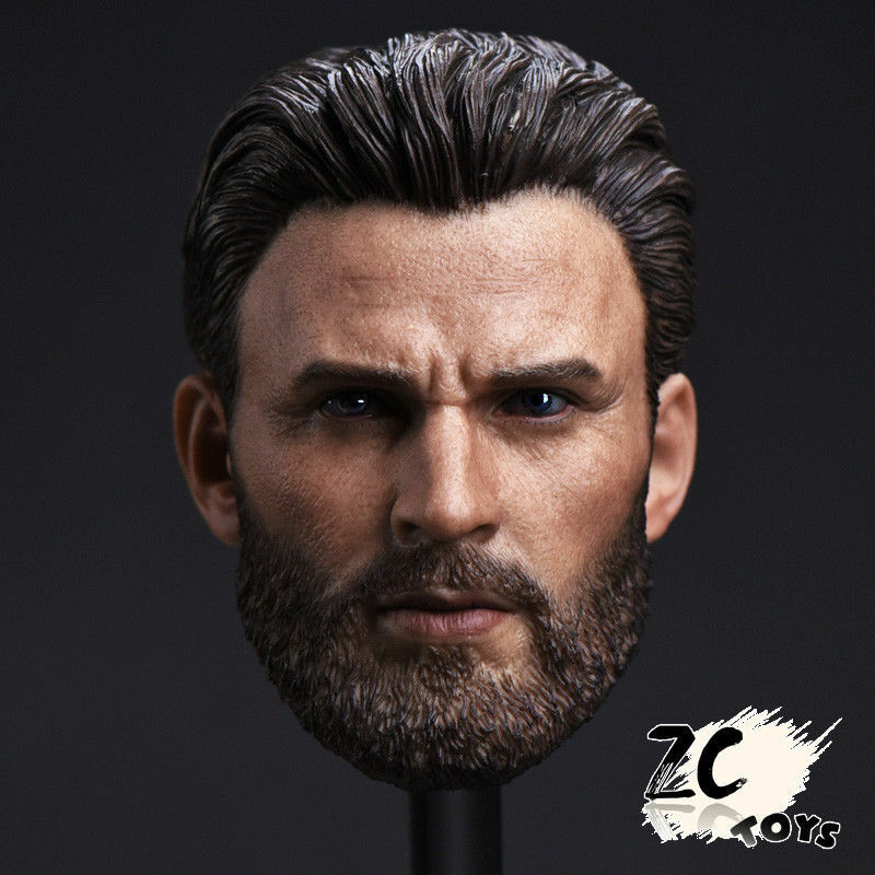 CN ZCTOYS 1 6 Captain America Head Carved Beard Beard Beard . Chris Evans F 12'' HT Figure 98d356