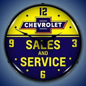 New-old-style-Chevrolet-Sales-amp-Service-LED-LIGHT-UP-advertising-clock-USA-Made