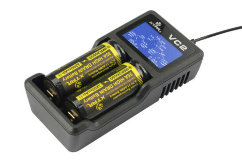 XTAR VC2 Plus LED Display USB Universal Battery Charger with Pouch