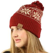 Winter Ultra Soft Thick Snowflake Knit Pom Pom Beanie Skull Ski Hat Cap Wine