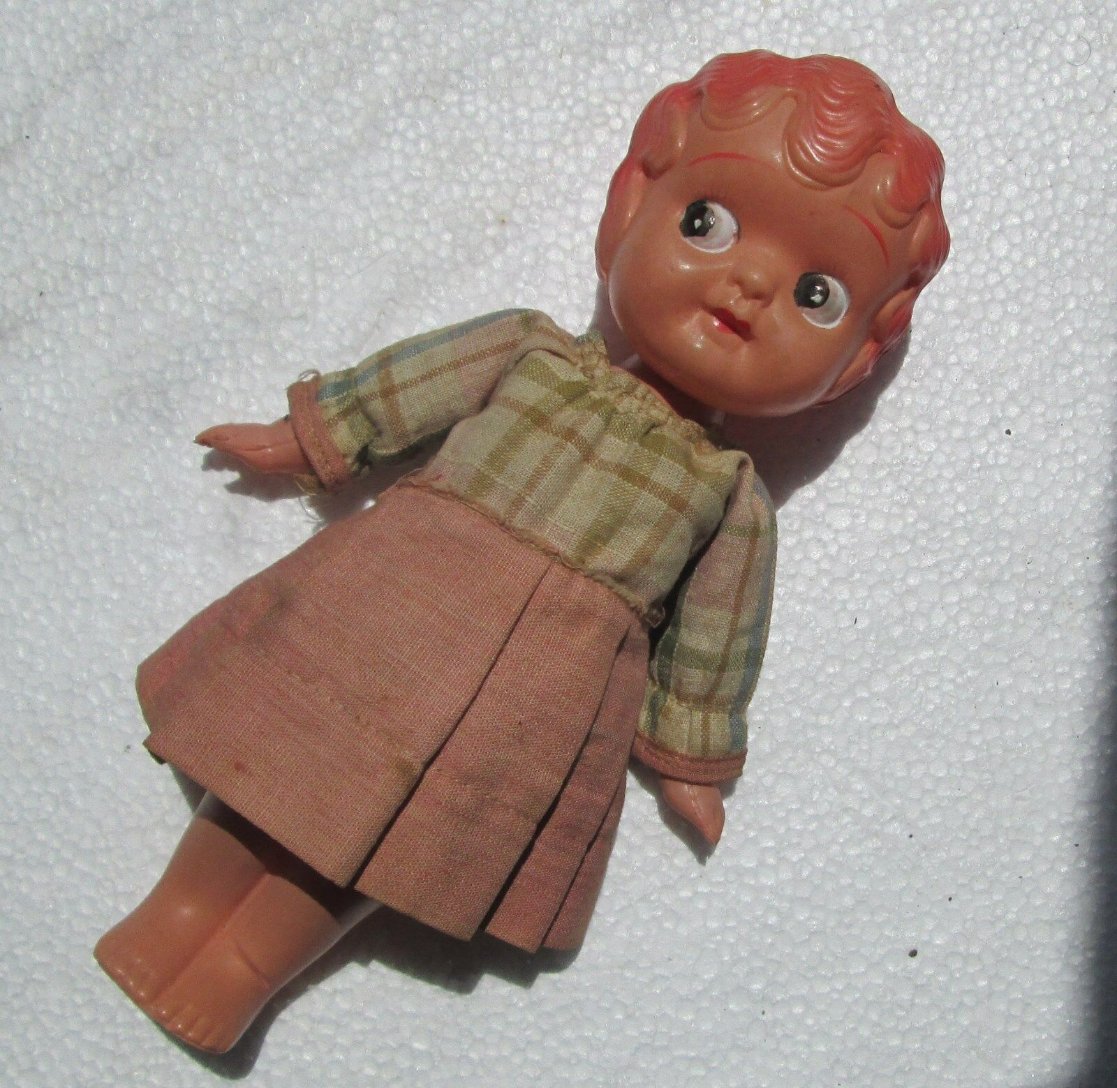 Antique Celluloid Doll Swivel Head C1930 Handmade Clothes Side Glazing 7in Japan