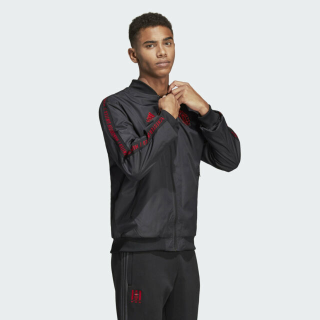 Adidas Manchester United Anthem Jacket Sz M and L Track Top Black Bomber DP2327