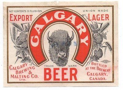 Buffalo N.Y. Calgary Beer Label Calgary Brewing /& Malting Vancouver Canada
