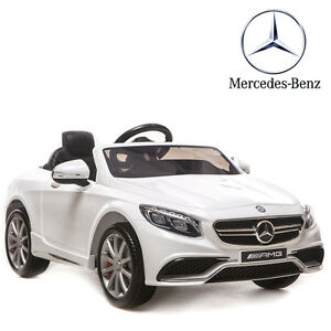 petite voiture lectrique enfant mercedes luxe s63 blanche 12v t l commande ebay. Black Bedroom Furniture Sets. Home Design Ideas