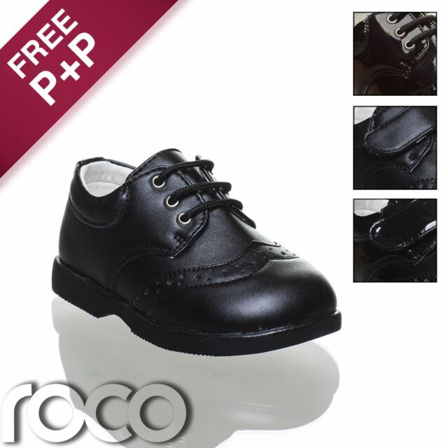 Baby Boys Black Brogue Shoes, Velcro Shoes, Lace Up Shoes, Boys Formal Shoes
