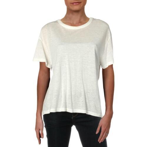 Monrow Womens Ivory Tencel Linen Tee T-Shirt Top M BHFO 1567