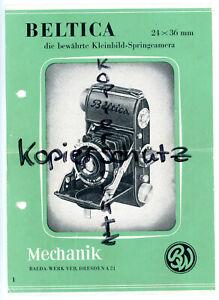 BALDA-WERK DRESDEN Kamera Prospektblatt Nr. 1 BELTICA 24x36mm Broschüre (Y1179