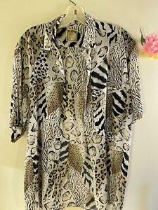 Mens-Size-40-Leopard-Cheetah-Big-Cats-Print-Vintage-Casual-Button-Shirt