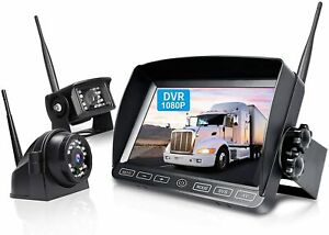 Wireless Backup Camera System Kit 7'' DVR Quad Split Monitor Reverse Rear BW702