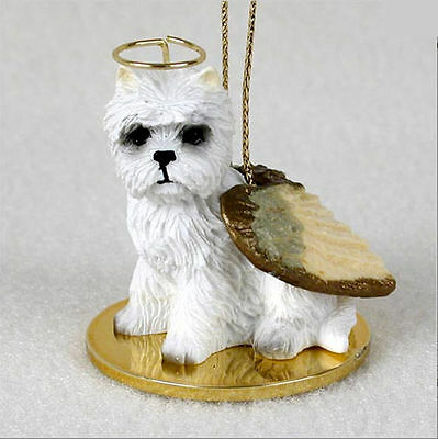 Westie Dog Figurine Ornament Angel Statue Hand Painted