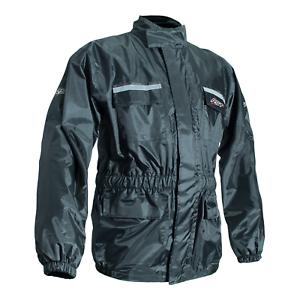 Rain Jacket Warterproof Over Coat Motorcycle Motorbike Scooter Lined Black S