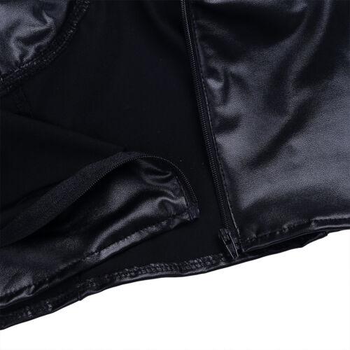 Womens PU Leather Spaghetti Straps Tank Bustier Corset Bra Vest Crop Top Blouse