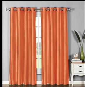Elaine 4 Seda de Imitación Naranja 54 X 84 in (approx. 213.36 cm) paneles de cortina 8 Ojales cada panel