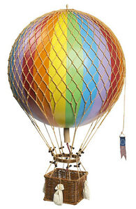 """Rainbow Striped 13"""" Hot Air Balloon Model Aviation Ceiling Hanging Home Decor"""