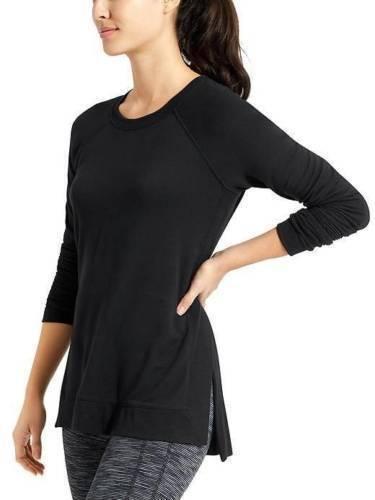 NWT Athleta Studio Side Slit CYA Sweatshirt schwarz Größe XS       v84