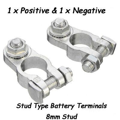 8mm 2x car Battery 12v stud terminals connectors clamps heavy duty //
