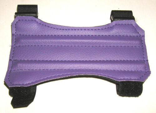 "ARCHERY ARM GUARD. 7"" PURPLE TWO STRAP VINYL GUARD BY ARROWHEAD"