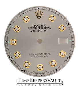 Details about Custom Silver Genuine Diamond Dial to Fit Rolex Datejust  2Tone Quickset 36mm