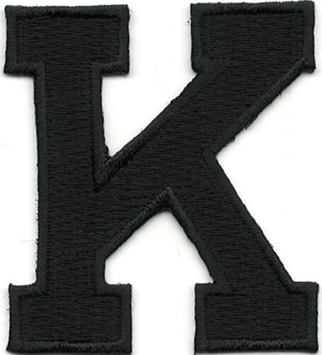 """1 7//8/"""" Tall Black Monogram Block letter K Embroidery Patch"""